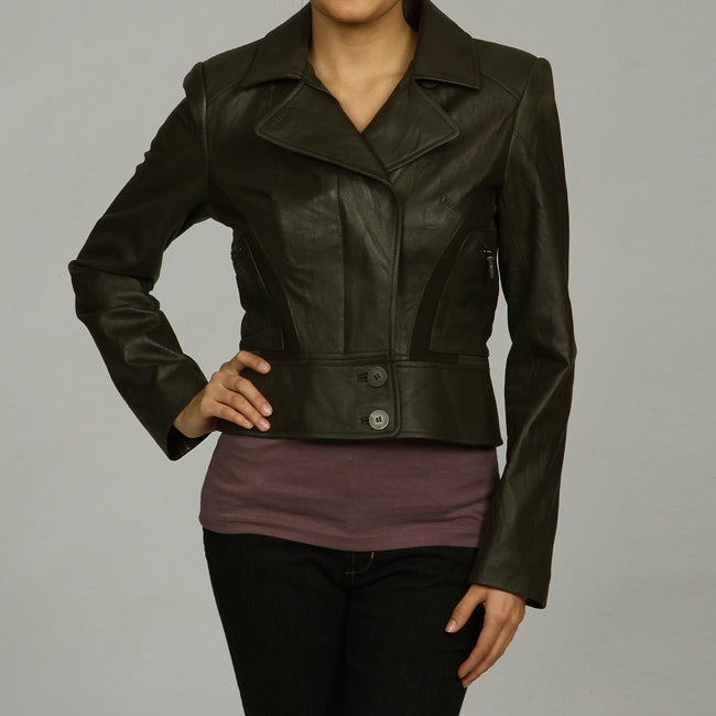 Nicole Miller Women's Leather and Wool Jacket
