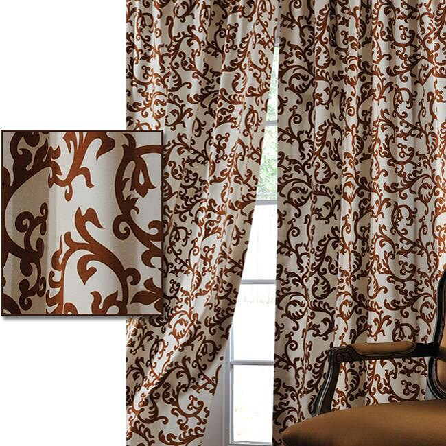 Exclusive Fabrics Stamford Rust Printed Cotton 84-inch Curtain Panel