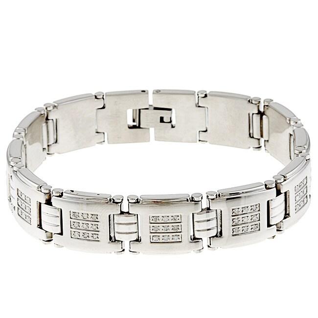Stainless Steel Men's 1ct TDW Diamond Bracelet (G-H, I2-I3)