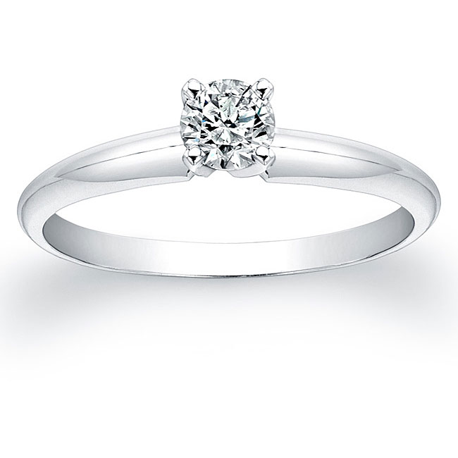 14k White Gold 1/4ct TDW Certified Diamond Engagement Ring (H-I, SI2-SI3)