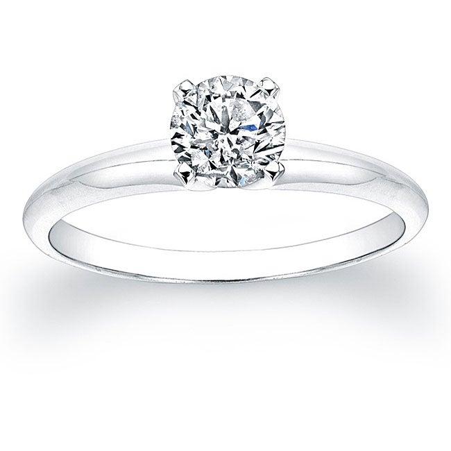 14k White Gold 5/8ct TDW Certified Round Diamond Solitaire Ring (H-I, I1-I2)