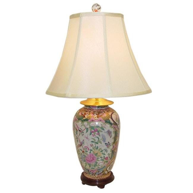 Rose Medallion Round Vase Porcelain Table Lamp