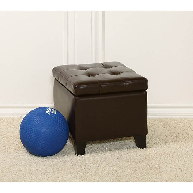 Tufted Patent Chocolate Brown Storage Ottoman