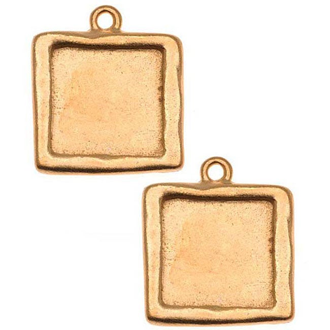 Beadaholique Goldplated Pewter Square Picture Frame Pendants (Set of 2)