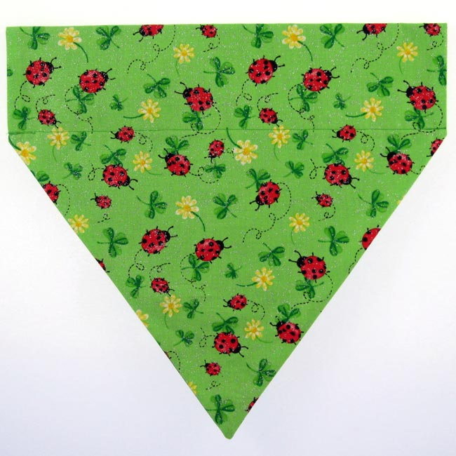 Ruff Stuff USA Green Ladybugs Dog Collar Bandana