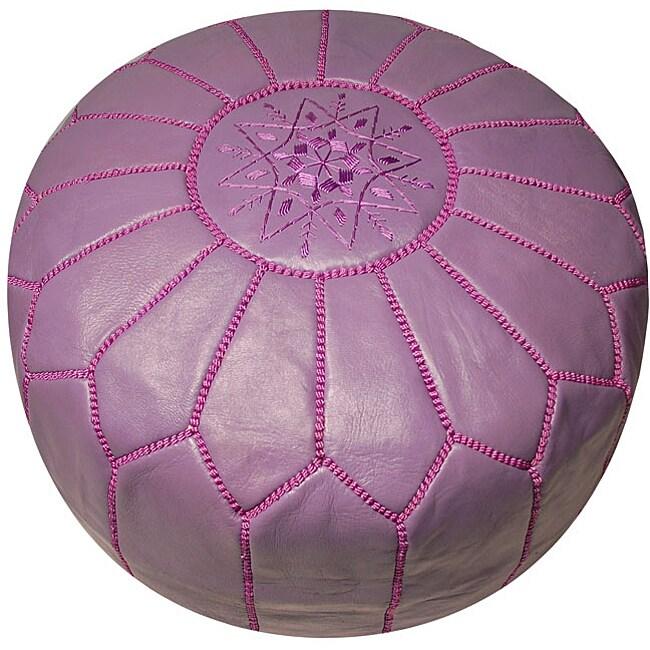 Leather Lavender Pouf Ottoman (Morocco)