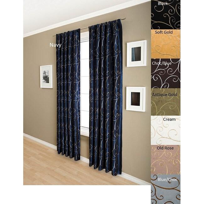 Bella Scroll Faux Silk Taffeta 96-inch Curtain Panel