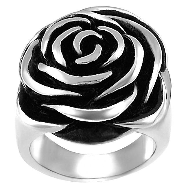 Stainless Steel Rose Design Ring