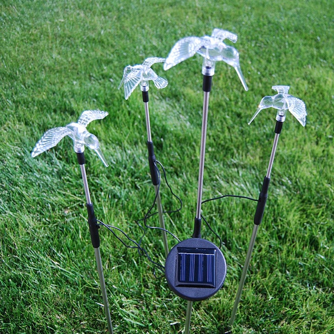 Solar powered color changing garden stake hummingbirds set of 4 13467605 for Solar garden stakes color changing
