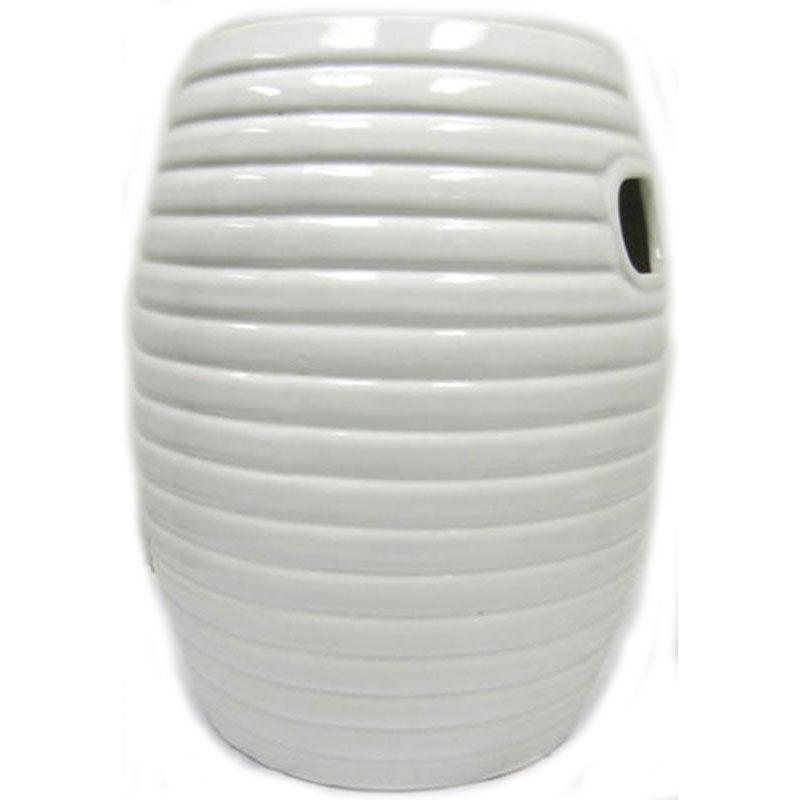 Multiple Ring White Ceramic Garden Stool 13473029