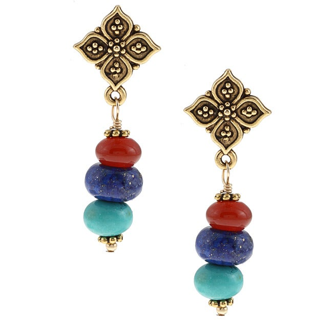 Charming Life Goldtone Turquoise, Carnelian, Lapis Post Earrings