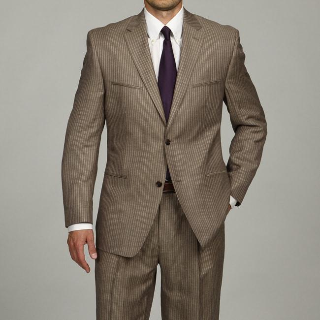 Sean John Men's Tan Pinstripe 2-button Linen Blend Suit