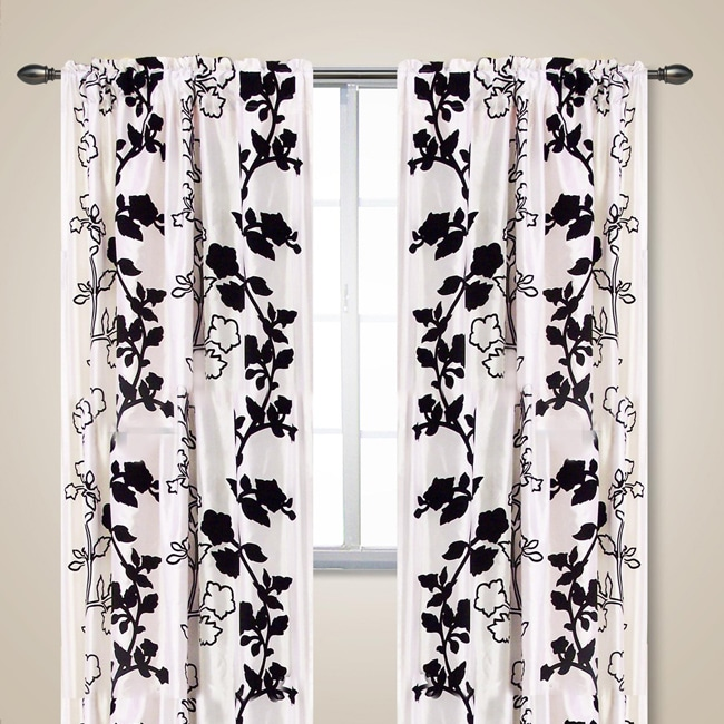 white and black vines 84 inch curtain panel set 13481239