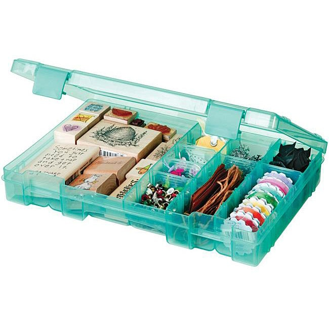 Art Bin Translucent Teal 4-19-compartment Solutions Box