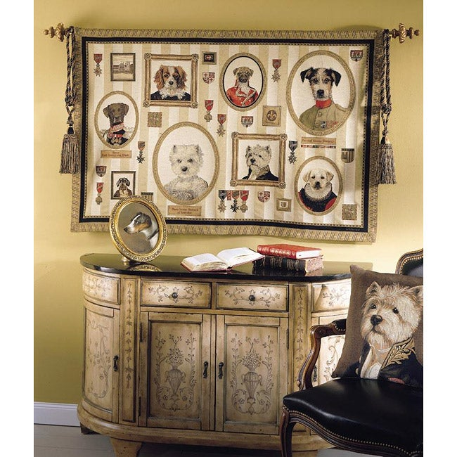 Dogs of Nobility Multicolor Cotton Tapestry