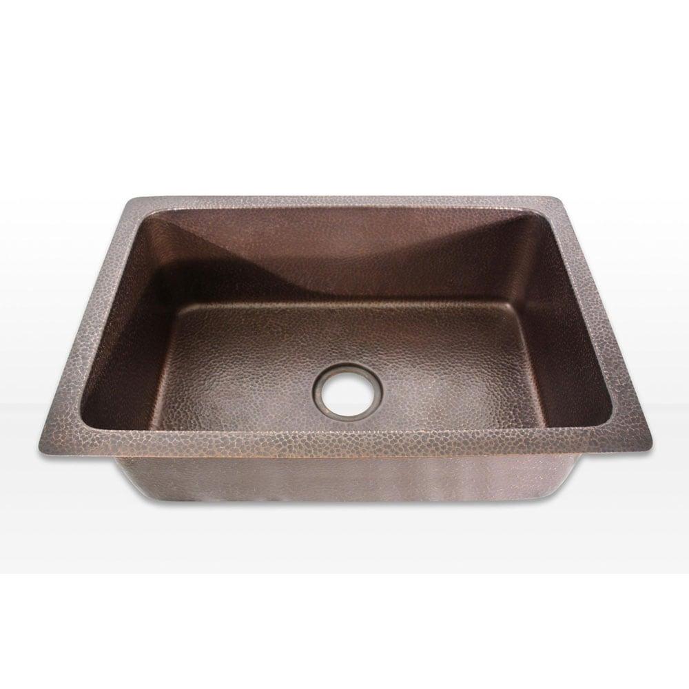 Collection 30-inch Undermount Hammered Light Copper Kitchen Sink ...
