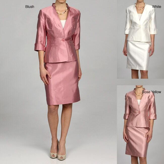 Larry Levine Women's Silk-blend Skirt Suit