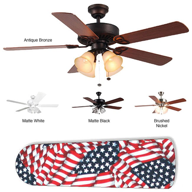 New Image Concepts 4-light American Flag Blade Ceiling Fan