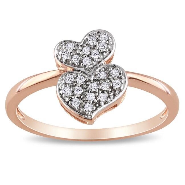 Miadora 10k Rose Gold 1/10ct TDW Diamond Heart Ring (G-H, I2-I3)
