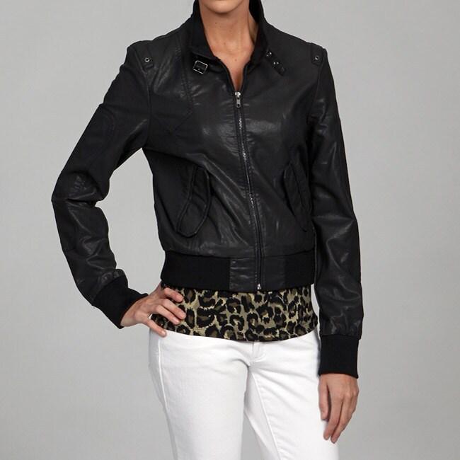 Black Rivet Women's Front Zip Moto Jacket