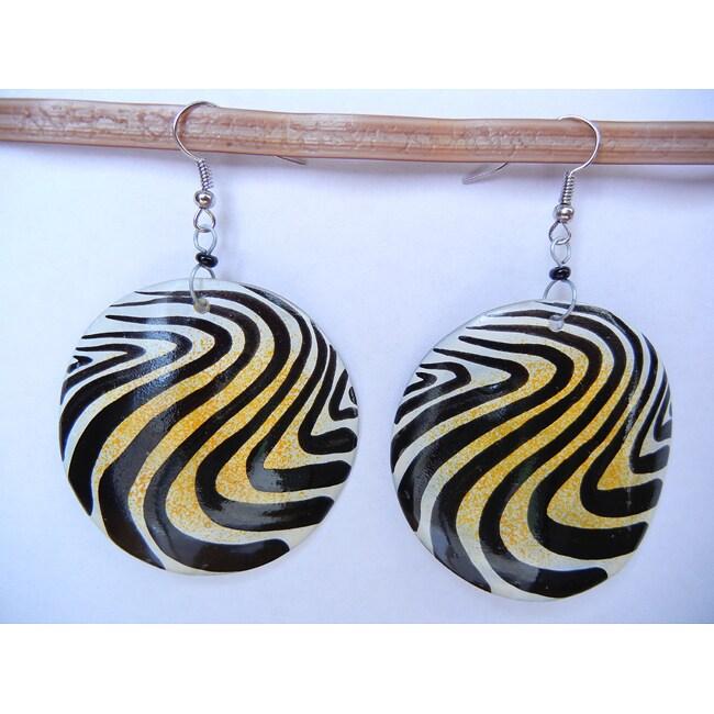 Silverplated Cow Bone Animal Print Earrings (Kenya)