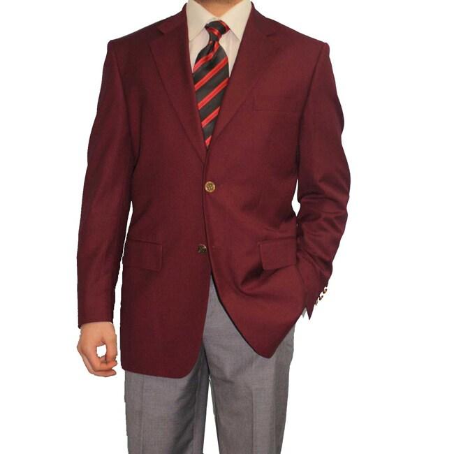 Ferrecci Men's Burgundy 2-button Blazer