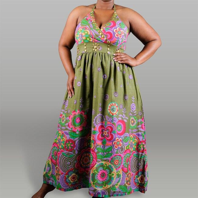 Meetu Magic Women's Plus Size Border Print Maxi Dress