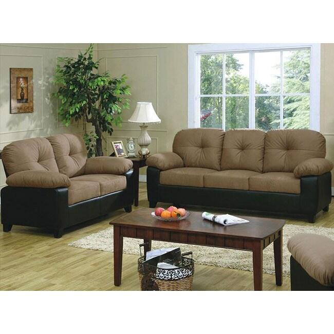 Bento 2-piece Microfiber Sofa and Loveseat Set