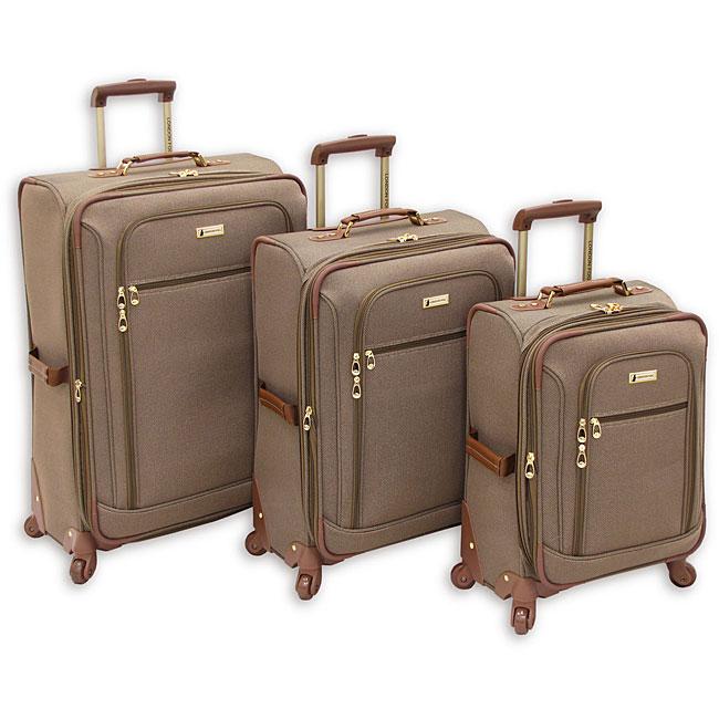 London Fog Sheffield Tan Lightweight 3-piece Spinner Luggage Set