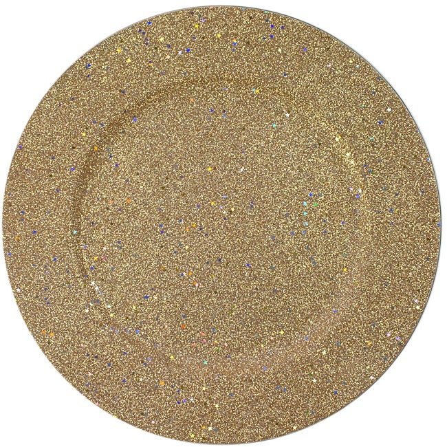ChargeIt! by Jay 12.5-in Round Gold Glitter Chargers (Set of 4)