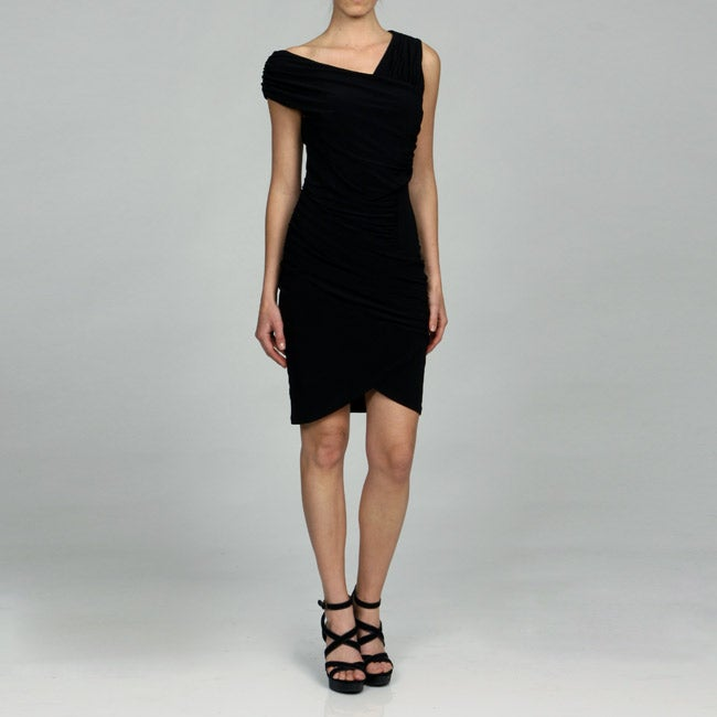 Jessica Simpson Women's Black Asymmetrical Ruched Dress