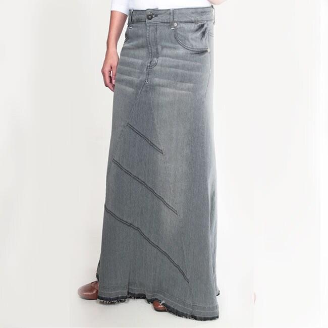 Tabeez Women's Frayed Grey Long Denim Skirt