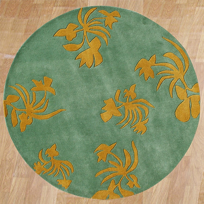 Alliyah Handmade New Zeeland Blend Green Wool Rug (6' Round)