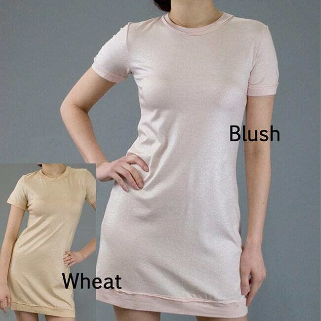 AtoZ Women's Sparkle Short Sleeve Mini Dress