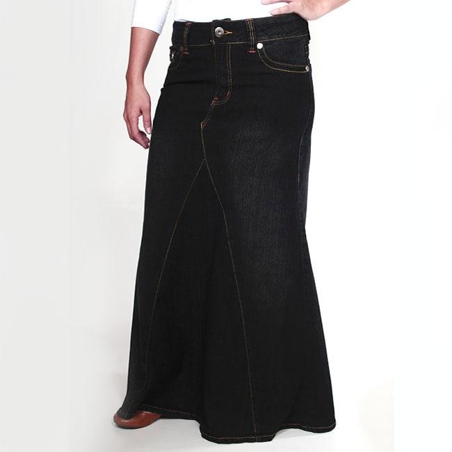Tabeez Women's Cotton-blend Black Mermaid Denim Skirt