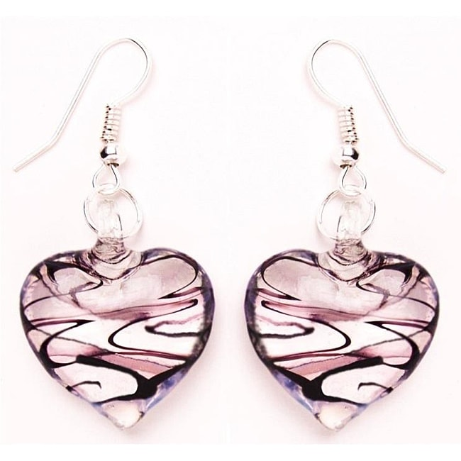 Murano-inspired Glass Purple and Clear Heart Earrings
