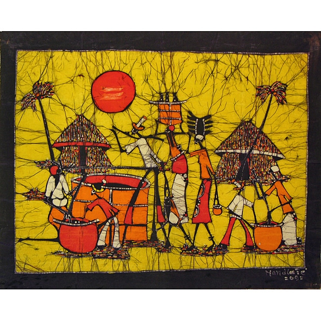 Cotton 'What's in the Pot' Large Wax Batik Tapestry (Mozambique)
