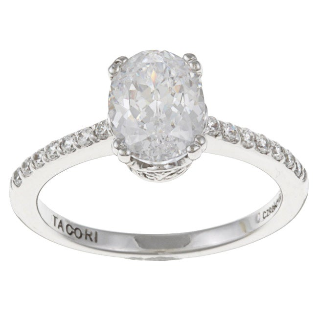 IV Sterling Silver Cubic Zirconia Oval Bloom Ring