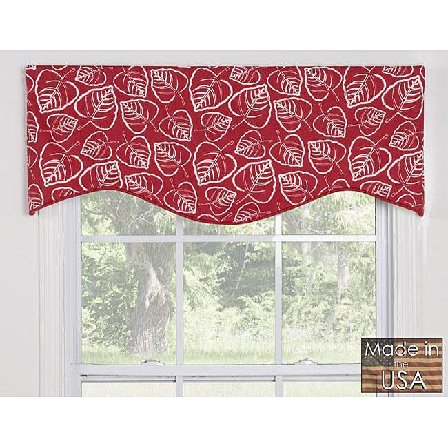 Red Leaves Cotton M-shaped Window Valance