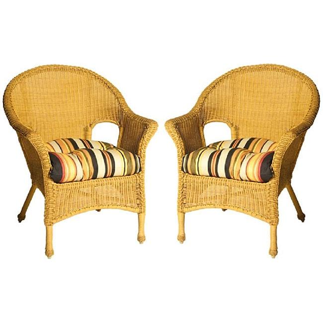 Bianca Stripe Black/ Olive Green Wicker Chair Cushion Set