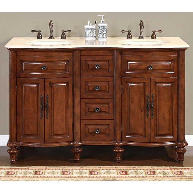 Silkroad Exclusive Wood And Crema 55 Inch Marble Double Bathroom Vanity 13544035 Overstock