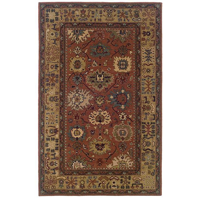 Hand-tufted Pink Oriental Wool Rug (8' x 10')