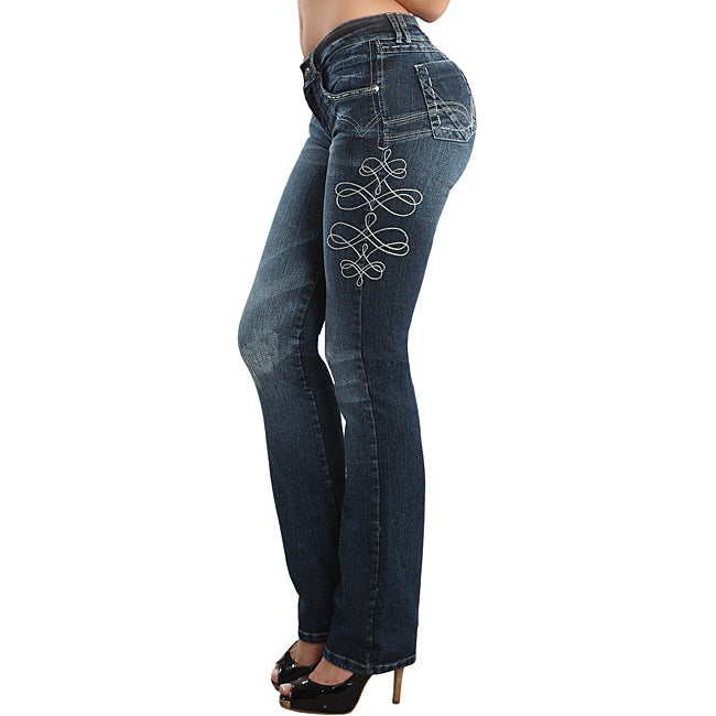 Glossa Women's Embroidered Stretch Push-up Jeans