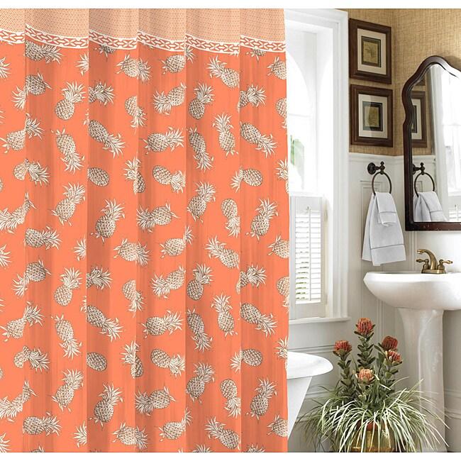 Tommy Bahama Pineapple Island Tangerine Shower Curtain