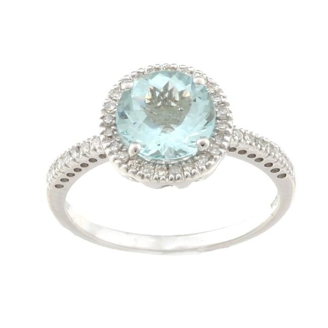 14k White Gold Aquamarine and 1/5ct TDW Diamond Ring (H-I, I1-I2)