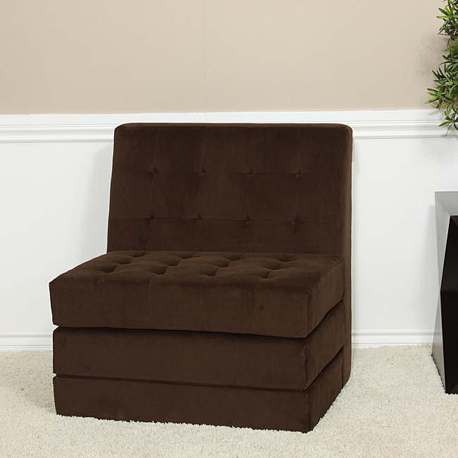 Brown Fold out Microfiber Chair Sleeper Bed Overstock Shoppi