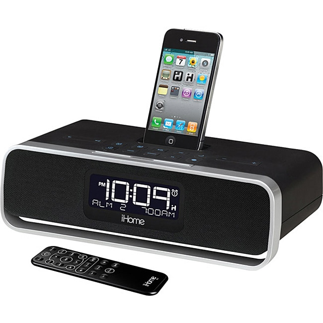 ihome app enhanced dual alarm clock radio with am fm stereo system with ipod iphone dock. Black Bedroom Furniture Sets. Home Design Ideas