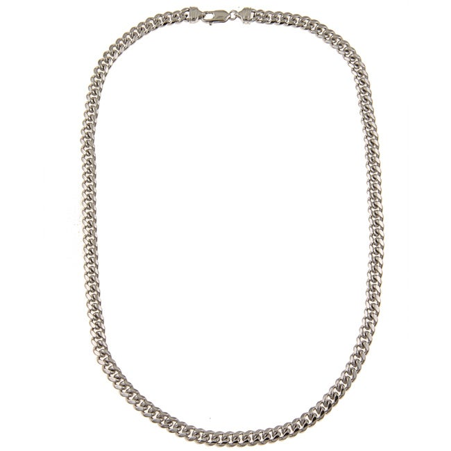 Platifina Platinum over Silver 24-inch Cuban Link Chain Necklace