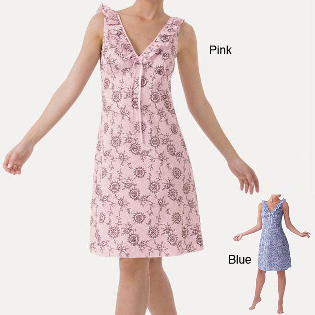 Women's Pink Floral Ruffled Chemise Nightgown
