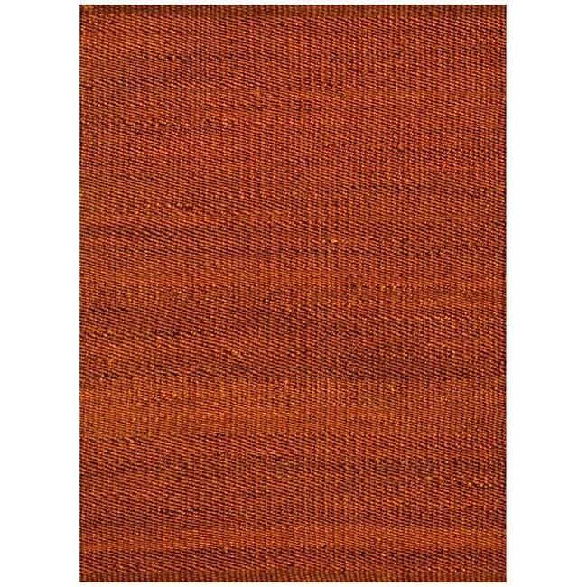 Hand-woven Rust Jute Rug (5' x 8')